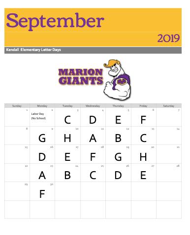 Specials schedule for September | Marion School District