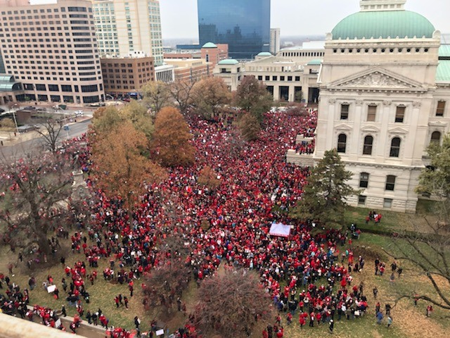 #RedForEd viral crowd photo